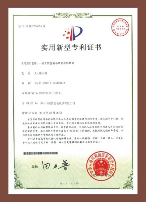 Patent certificate 8