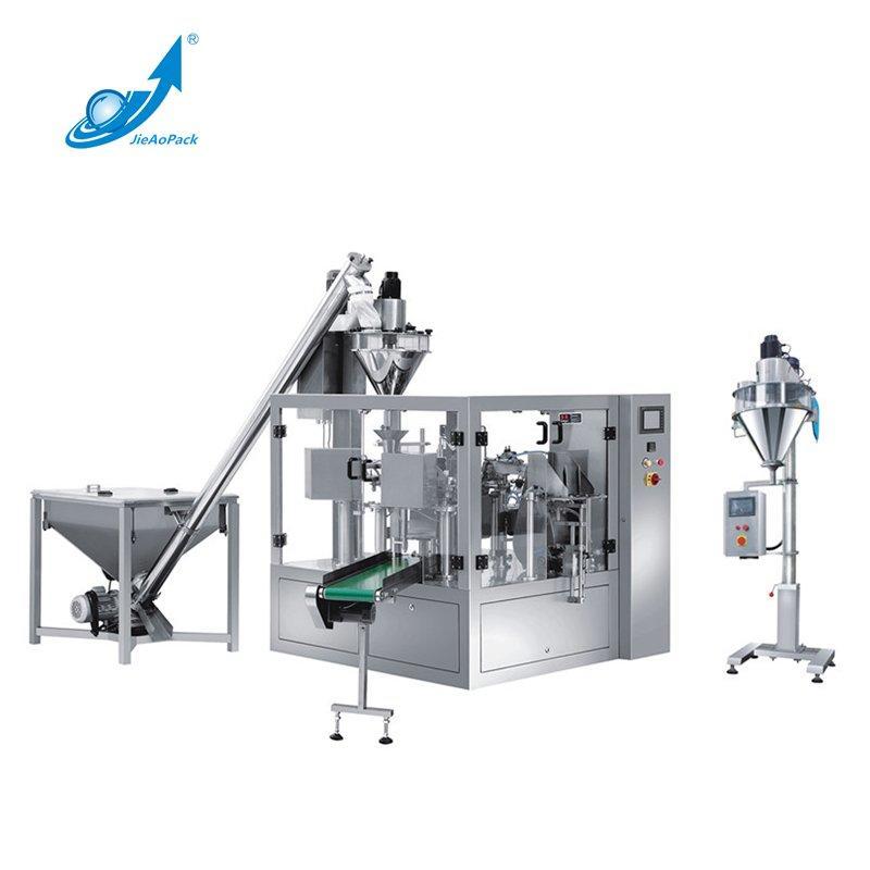 Multi station rotary type bag feeding powder packing machine
